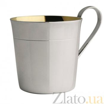 Детская серебряная чашка Korpus с полоской под краем и внутренней позолотой, 170мл ZMX--2721_6492