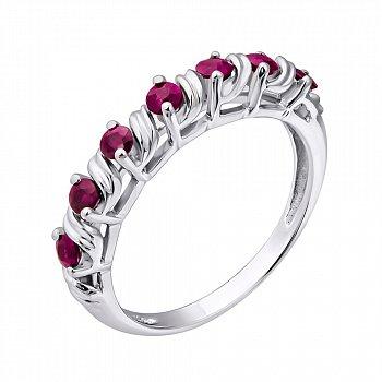 Серебряное кольцо с рубинами 000022141