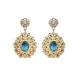 Золотые серьги с бриллиантами и голубыми топазами Triumph