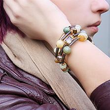 Спиральный браслет Иоланда с яшмой, кварцем, кальцитом и кристаллами Swarovski