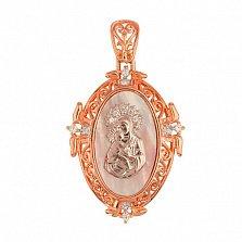 Ладанка из золота с перламутром Владимирская Божья Матерь