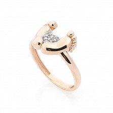 Золотое кольцо Ножки младенца с фианитами