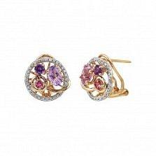 Серьги из красного золота Бабетта с бриллиантами, аметистом и розовым турмалином