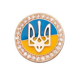 Золотой значок Герб Украины в красном цвете с эмалью и фианитами