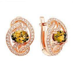 Серьги из красного золота с цитринами и фианитами 000137489