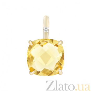 Подвес в желтом золоте Элеонора с цитрином и бриллиантом 000032620