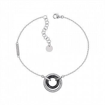 Серебряный браслет с керамикой и фианитами 000147509