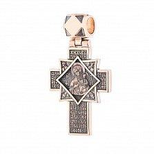 Золотой крест Распятие и икона Божией Матери