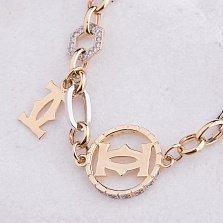 Золотой браслет Магия роскоши с фианитами в стиле Картье