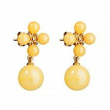 Серебряные серьги-пуссеты Алести в позолоте, с подвесками-шариками и лимонным янтарем