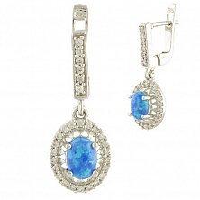 Серебряные серьги-подвески Эсфирь с голубым опалом и фианитами