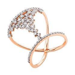 Кольцо в красном золоте с фианитами 000130289
