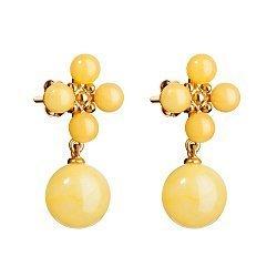 Серебряные серьги-пуссеты в позолоте, с подвесками-шариками и лимонным янтарем 000099714