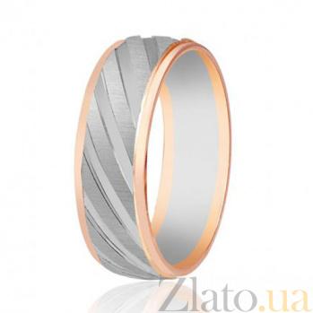 Золотое обручальное кольцо Диагональ чувств 000001644
