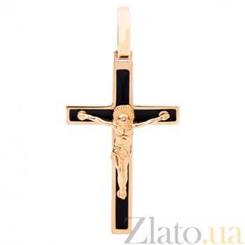 Золотой крестик с черной эмалью Спаси и Сохрани HUF--115-КЭ/чёрн