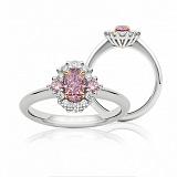 Кольцо Argile из белого золота с бриллиантами розовыми сапфирами