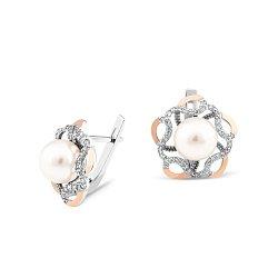 Серебряные родированные серьги Моретта с золотыми накладками, имитацией жемчуга и фианитами