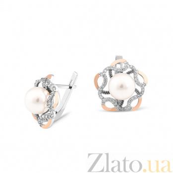 Серебряные родированные серьги Моретта с золотыми накладками, имитацией жемчуга и фианитами 000082132