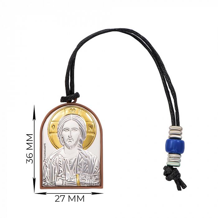 Серебряная автомобильна икона Иисус Христос и Николай Чудотворец 000145050 000145050