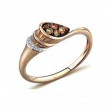 Кольцо из красного золота Клаудиа с бриллиантами и цитринами
