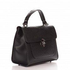 Кожаная деловая сумка Genuine Leather 8686 черного цвета на молнии с клапаном