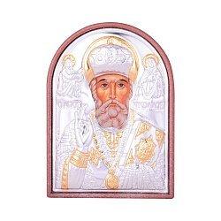 Икона Николай Чудотворец с серебрением и позолотой на пластиковой основе 000131700
