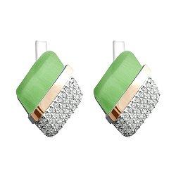 Серебряные серьги с золотыми накладками, зеленым улекситом, фианитами и родированием 000068141