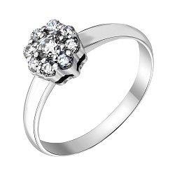 Золотое кольцо в белом цвете с цирконием Swarovski  000095168