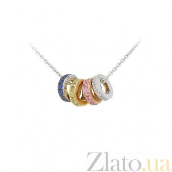 Золотой кулон Фейерверк с бриллиантами, синими, желтыми и розовыми сапфирами 000097469