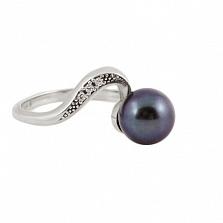 Серебряное кольцо Ночная нега с черной жемчужиной и Swarovski Zirconia
