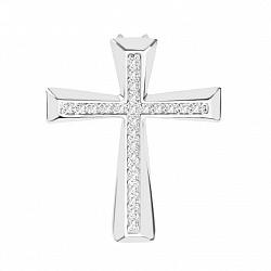 Золотой декоративный крестик Найли в белом цвете с дорожками бриллиантов