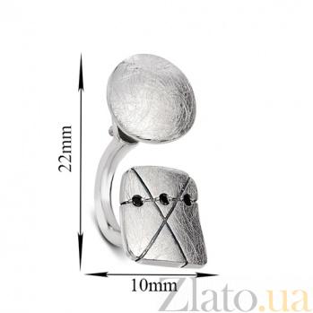Серебряная двусторонняя пуссета Инрига с черным цирконием К2-2 лкв кв цч