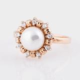Золотое кольцо Сюзон с жемчугом и фианитами