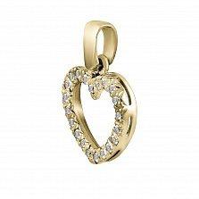 Кулон из желтого золота Сердечко с бриллиантами