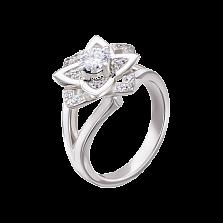 Золотое помолвочное кольцо Лотос с бриллиантами