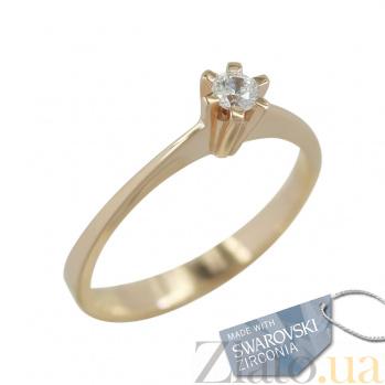 Золотое кольцо с кристаллом Swarovski Верена 2К171-0057