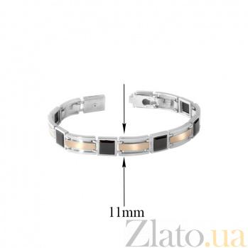 Серебряный браслет Подкова с золотыми вставками и ониксом, 8мм 000015958