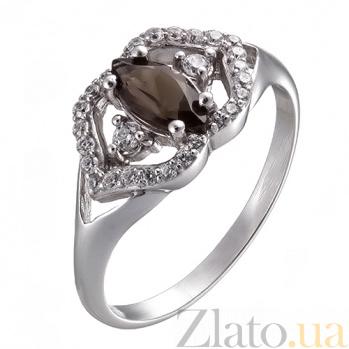 Серебряное кольцо с раухтопазом и фианитами Шарли 1680/9р кварц