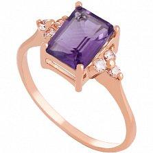 Золотое кольцо с аметистом и фианитами Анжиолетта