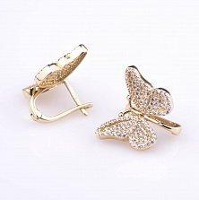 Золотые сережки Бабочки с фианитами