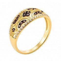 Кольцо в желтом золоте Памела с коньячными фианитами