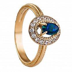 Золотое кольцо Индия с опалом и фианитами