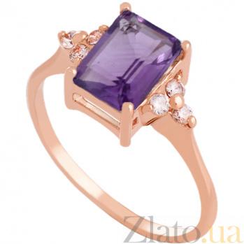 Золотое кольцо с аметистом и фианитами Анжиолетта 000024492