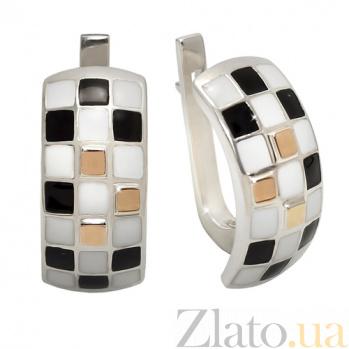 Серебряные серьги с эмалью и золотыми вставками Арлекин BGS--676с