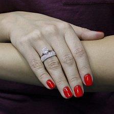 Серебряное кольцо Изольда с фианитами и родием