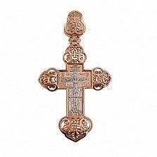 Золотой крестик с белым родированием Крещенский