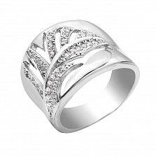 Серебряное кольцо Папоротник с кристаллами циркония