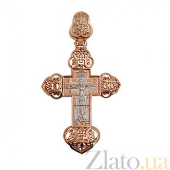Золотой крестик с белым родированием Крещенский VLT--КС3035-2
