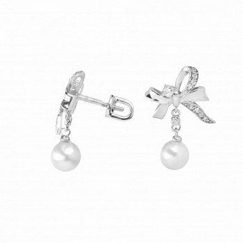 Серебряные серьги-пуссеты с белыми жемчугом и фианитами 000098803