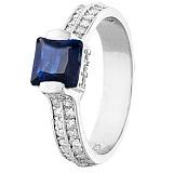 Серебряное кольцо с синим цирконием Скай